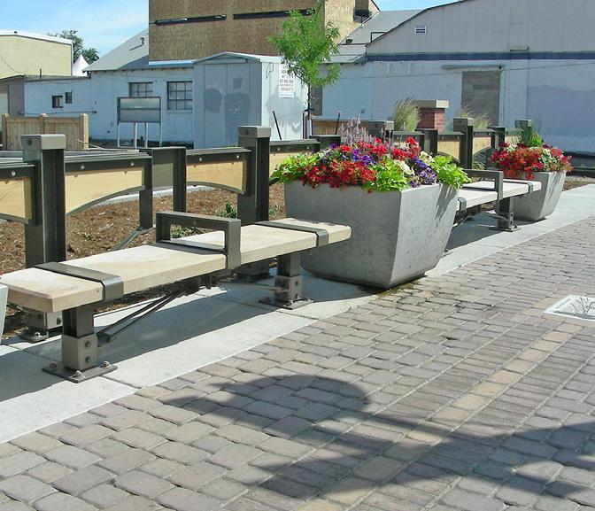 SITE FURNISHINGS Site furnishings may include lighting, benches, chairs, tables, waste receptacles, bike racks, planters and other furnishings designed for outdoor use.