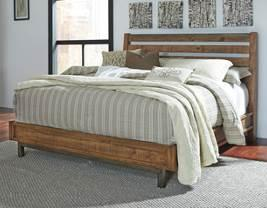 Warm brown finish with varied natural distressing marks Low platform look bed is anchored by an open slat headboard Steel bases are brushed in an aged bronze