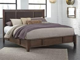 couples metal accents with warm textural wood tones Made with Mindi veneers and hardwood solids with a wire-brushed finish in a deep rich brown color Low-profile bed features panels