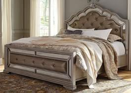 Storage Bed (74/77/98) No box spring B720 Birlanny (Signature Design) Traditionally classic Glam group made with Ash Swirl and birch veneers and select hardwood solids finished in a transparent