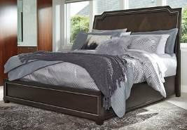 B723 Zimbroni (Ashley Millennium HS Exclusive) Contemporary style bedroom made with hardwood solids and Ash veneers in a roasted coffee bean finish for a modern look Inset metal trim accents the