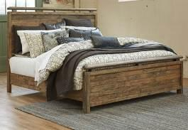 in an industrial bronze finish Storage bed features sliding barn door design on footboard Fully finished English dovetail drawers include ball bearing side glides Beds