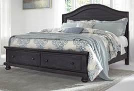 casual design All case pieces and bed are set on stylish turned bun feet Distressed finish in a worn dark charcoal color Storage footboard allows for extra drawer space Drawers feature