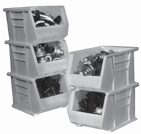 STORAGE BINS and CONTAINERS STACKABLE PLASTIC BINS Heavy duty units designed for storing a wide variety of small parts.