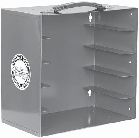 PLASTIC STORAGE TRAYS and ORGANIZER THE STOWAWAY ORGANIZER Made from prime cold rolled steel. Durable gray baked enamel finish.
