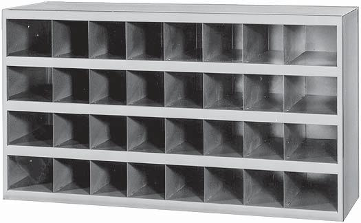 Storage bins are made from prime, cold rolled steel