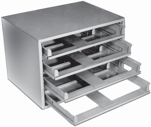 STORAGE TRAY ACCESSORIES 4 DRAWER SLIDE RACKS Slide racks are made from prime, cold rolled steel. Rust and acid resistant baked enamel finishes.