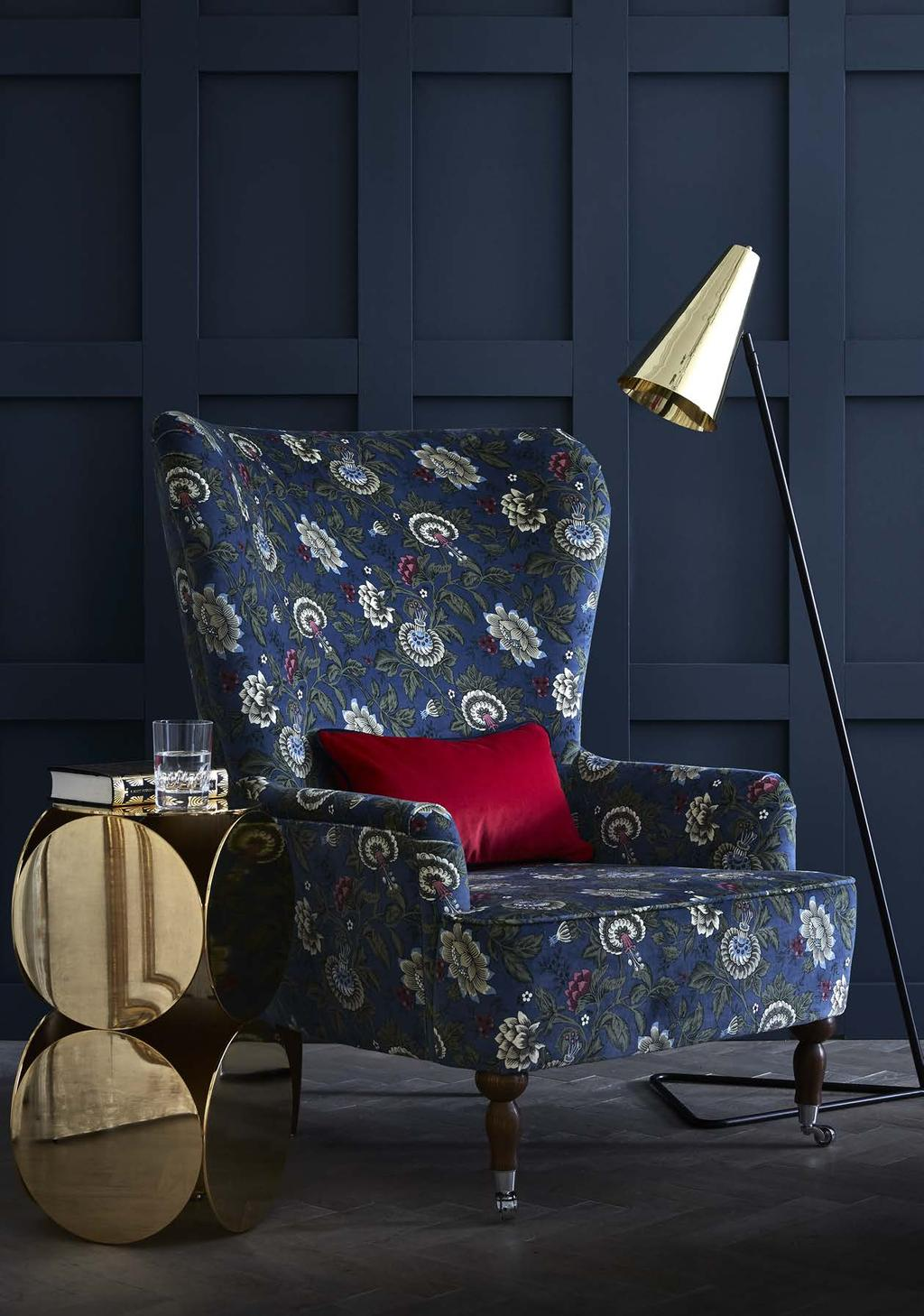 TONQUIN VELVET A sumptuous natural cotton velvet printed in two contemporary colour stories: teal with grey, and a rich indigo with mossy green detailing.