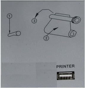 3.3.4 Printer connection 1. PRINTER:USB port; connect the monitor to the provided USB cable. Figure 3.9 rear panel of printer 3.3.5 Loading printing paper Step 1: Open the cover of the printer Step