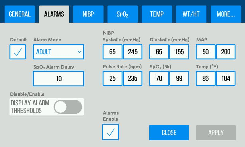 Alarms Settings The Alarms tab in the Settings menu allows users to set the upper and lower thresholds that will activate an alarm state.