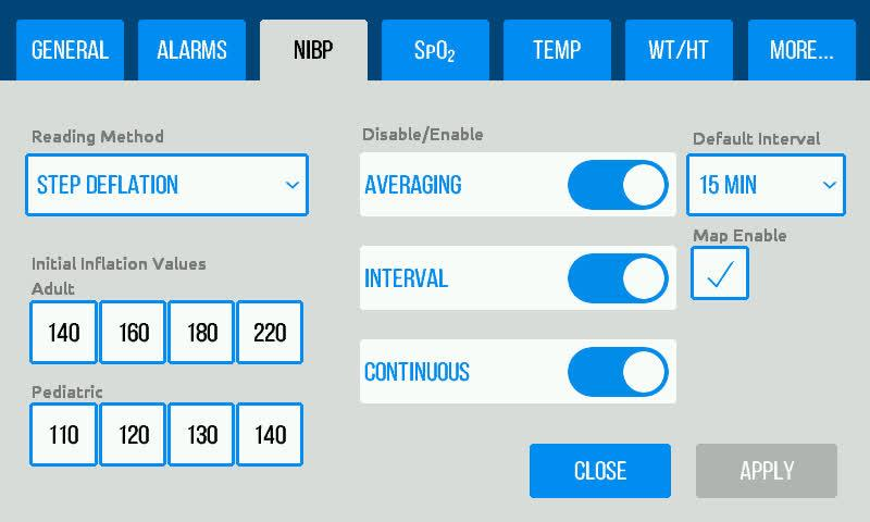 NIBP Settings The NIBP tab in the Settings menu allows users to select the NIBP reading method, disable/enable NIBP modes and displayed on the Main Screen, and set the default interval time between