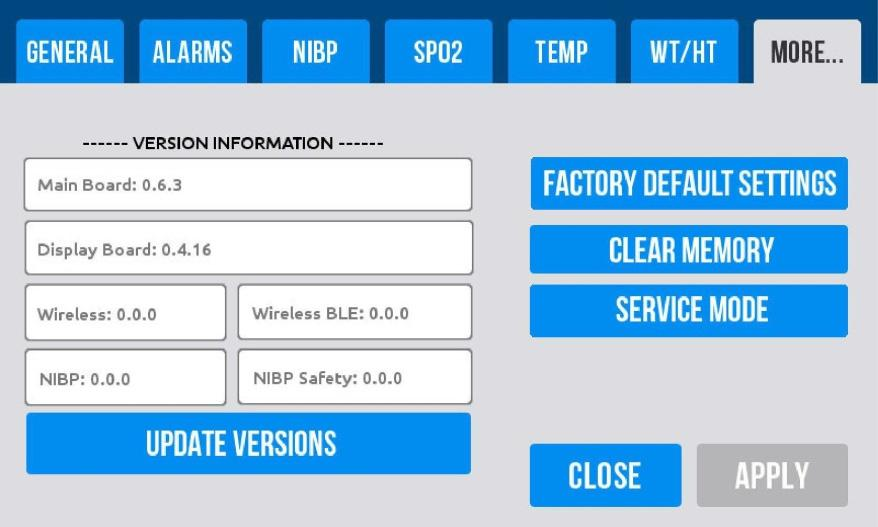 On the main screen, confirm that the NIBP mode is set to Spot. 2. Select Settings Mode 3.