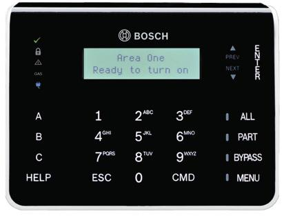 B920 Basic LCD Keypad Two-line LCD display with up to 32 character point, user and area names Shows two-line system messages for all areas Simple menu-style user interface Dedicated function buttons