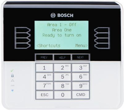 B930 Deluxe Five-Line ATM-style Alphanumeric LCD Keypad Five-line ATM-style LCD display with up to 32 character point, user and area names Shows system messages for all areas Simple menu-style user