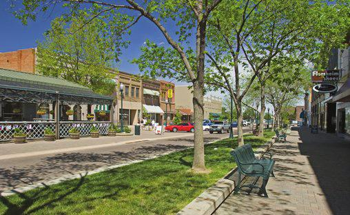 Street trees in planting areas combined with parallel parking provide a safer and more comfortable environment for pedestrians.