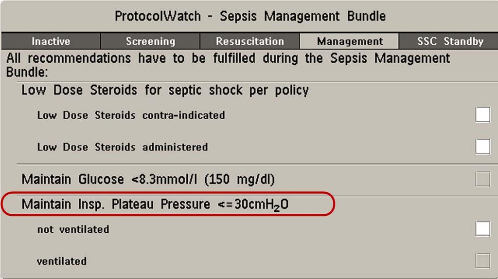 Plateau Pressure <=30cmH 2 O The boxes for Maintain Glucose <8.3mmol/l (150 mg/dl) and Maintain Insp.