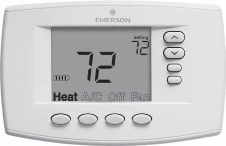 THERMOSTAT QUICK REFERENCE Home Screen Description Figure 6 Home Screen Display Room Temperature Setting Temperature Battery Level Indicator Indicating the current power level of the 2 AA batteries.