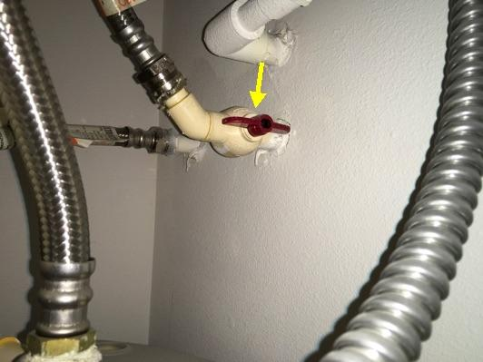 heater Water heater water line shutoff is