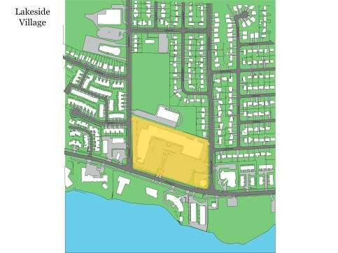 SLIDE 7 Neighborhood Plan with highlighted Site. The Lakeside Village site is 3,84 hectares (9.5 acres) in area.