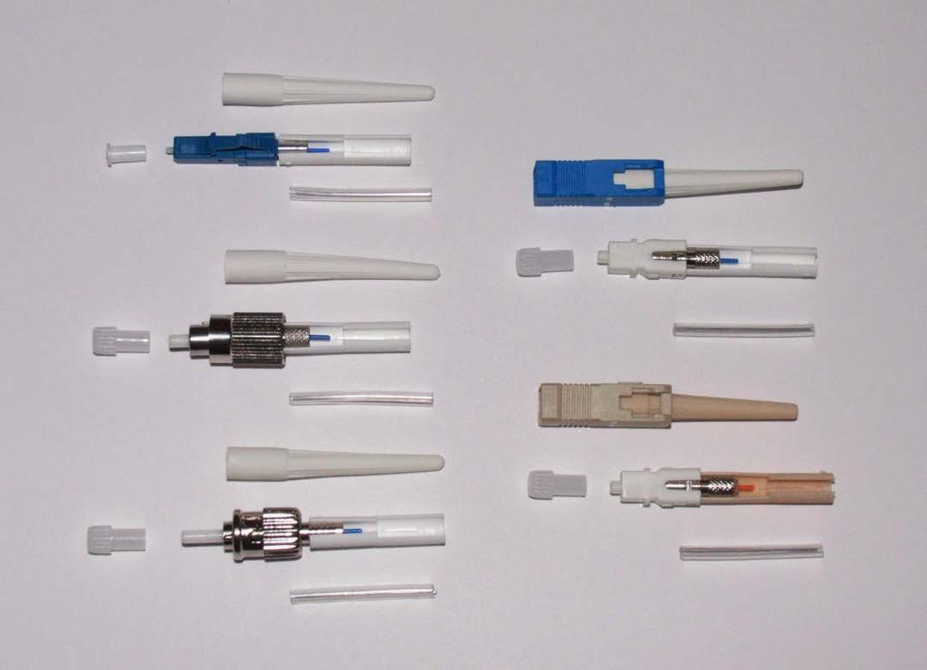 Splice on Connectors Available in SC, LC, FC, ST No crimping, epoxies, matching