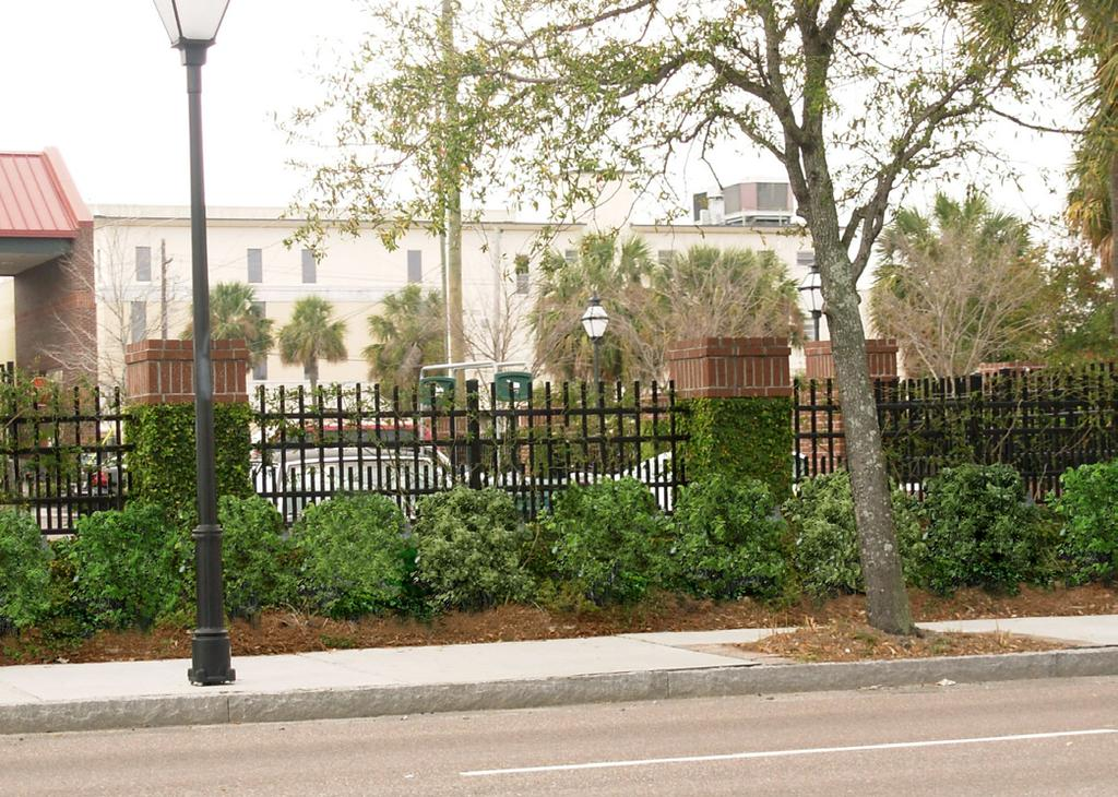 Piers, Fences,Guardrails and Hedges Design Intent 1. The streetscape is intended to be defined by buildings.