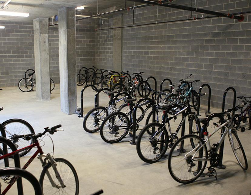 Bike racks should be located in visible areas in close proximity to building entrances, park and recreational