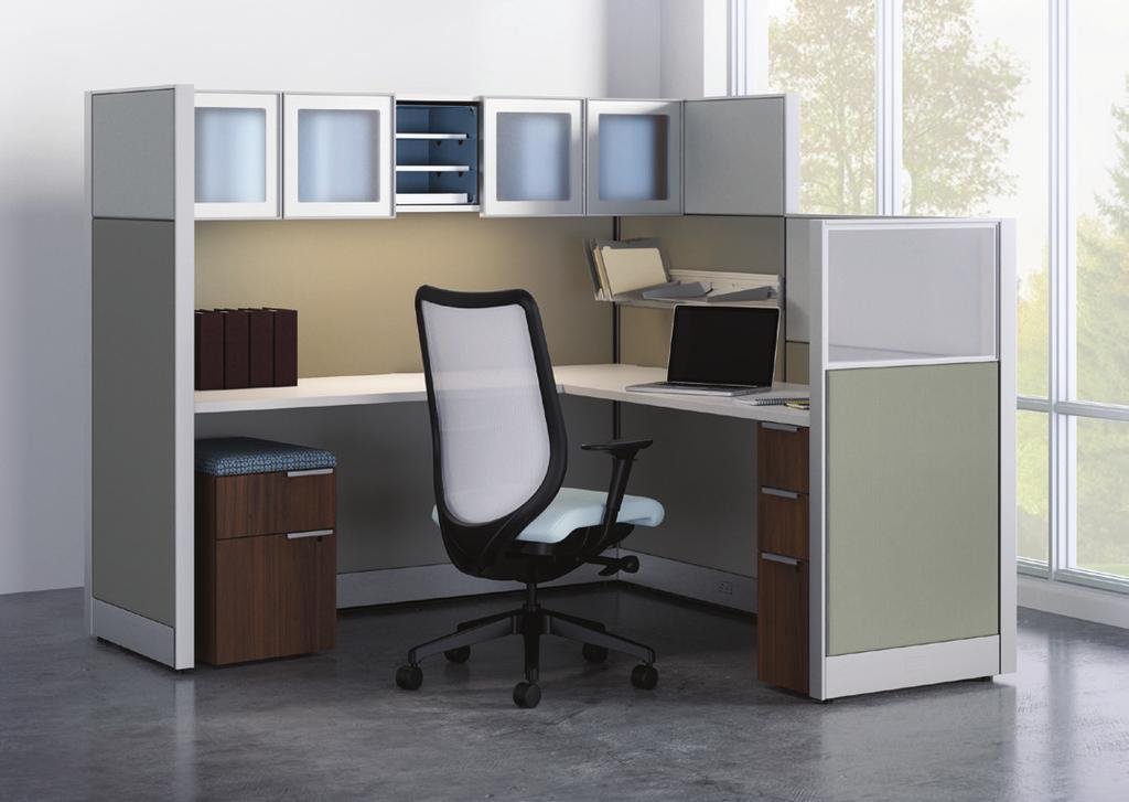 COORDINATE WITH ACCELERATE Accelerate panels are compatible with other HON products, like Voi worksurfaces, Abound overheads, and Flagship or Brigade personal storage.