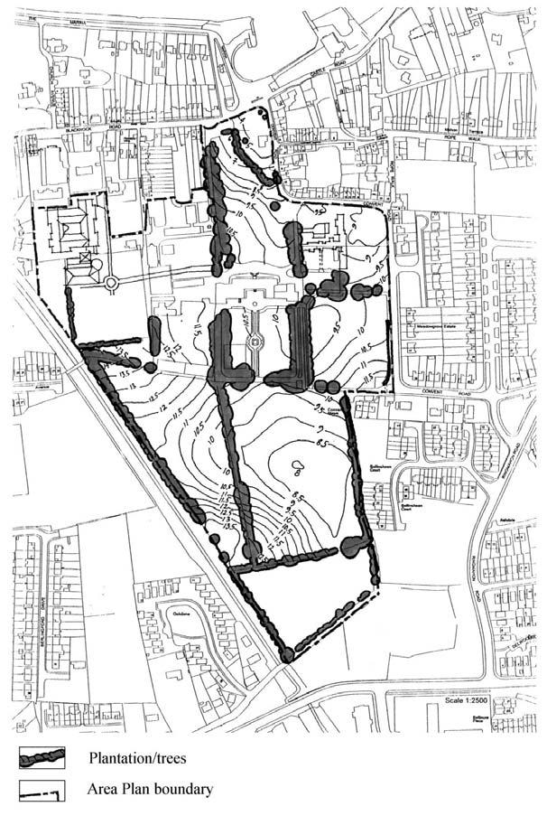 heights of the land. Buildings and trees are also marked. Green framework and land form map 2.5 Building uses The map shows the existing buildings of the Ursuline estate in Blackrock.
