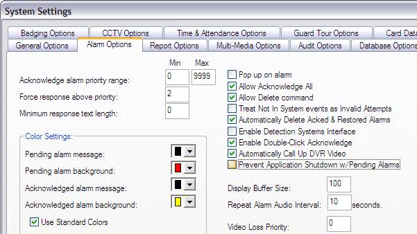 Configure SG Alarm Settings in Workstation Options A master operator login is required Workstation Options / System Settings features.