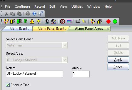Add Alarm Panel Areas/Partitions in SG Alarm Panel Areas are the same as Partitions in the Vista interface. Operator login must be set to allow full editing of Alarm Panel features.