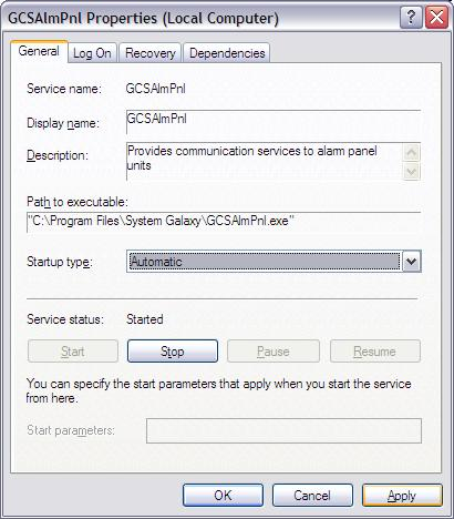 Alarm Panel Service must be running for System Galaxy to receive events and send commands to the panel.
