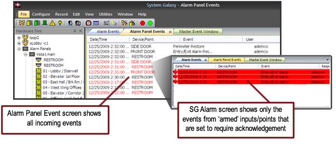 Using SG to Monitor the Alarm Panel Events IMPORTANT A disarmed input/point will create an Alarm Panel Event in SG when the input/point condition changes.