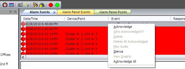 Acknowledging Alarm Events The SG Operator can right-click on any alarm event to open the command menu and issue a command. Some of the commands are enabled and disabled based on workstation options.