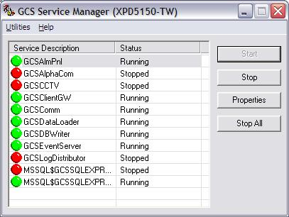 ADMINISTRATIVE FEATURES Using the Service Manager to Start Services (Windows XP) The GCS Service Manager is a utility that provides a way to interface exclusively with Galaxy services.