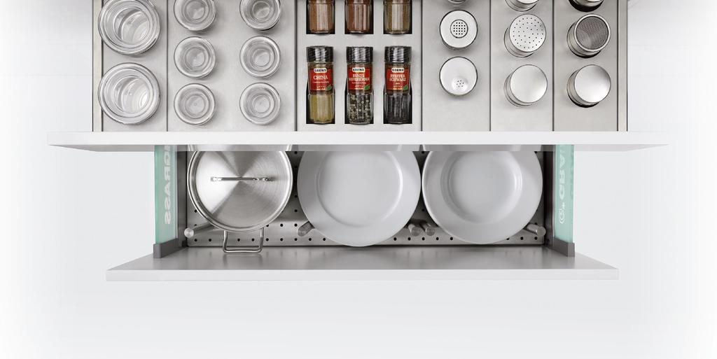 In a perfectly organised kitchen, everything has its place. Because things that are put away tidily are also readily found. And that applies in particular to the contents of drawers and pull-outs.