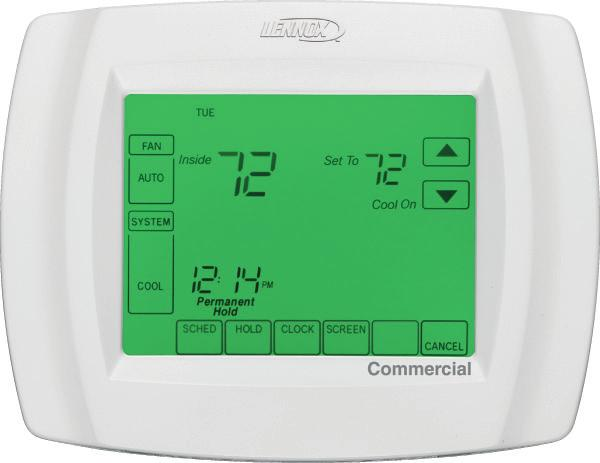 OPTIONAL CONVENTIONAL TEMPERATURE CONTROL SYSTEMS - FIELD INSTALLED COMMERCIAL TOUCHSCREEN THERMOSTAT Intuitive Touchscreen Interface - Two Stage Heating / Two Stage Cooling Conventional or Heat Pump