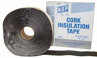 Insulation Products CORK INSULATION TAPE NRP cork insulation tape will prevent condensation and dripping of cold pipes.