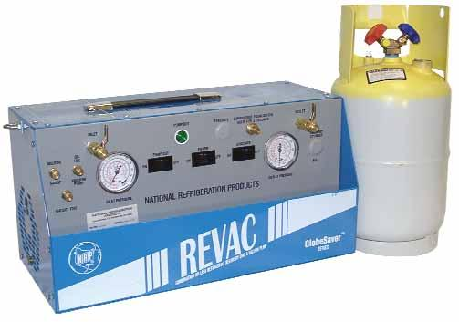 REVAC COMBINATION OIL-LESS REFRIGERANT RECOVER VERY Y UNIT AND VACUUM PUMP RECOVER VERY Y EQUIPMENT Features for REVAC Two units in one! 1 HP compressor (1.
