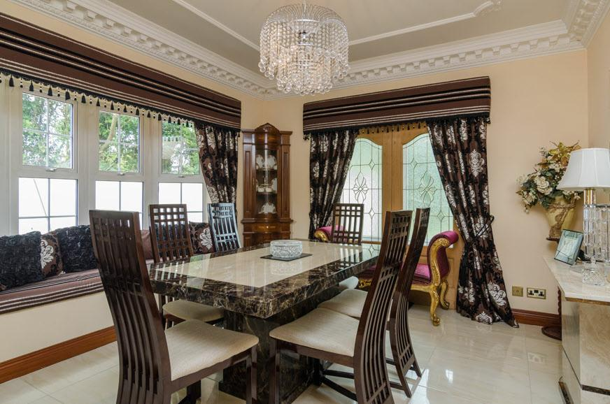 "DINING ROOM: 13' 1"" x 11' 5"" (3.99m x 3.48m) Cornice ceiling, ceiling rose, polished tiled floor, bay window with seating."