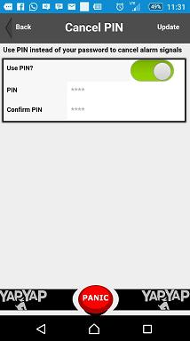 This pin is used to cancel a false alarm or panic signal directly from your cell