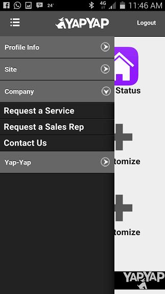 My info You can upload a photo of yourself Sites Provides a list of the sites / alarms loaded activated on YAPYAP Site Tab My Roles Allows you to edit the and customise the services / notifications