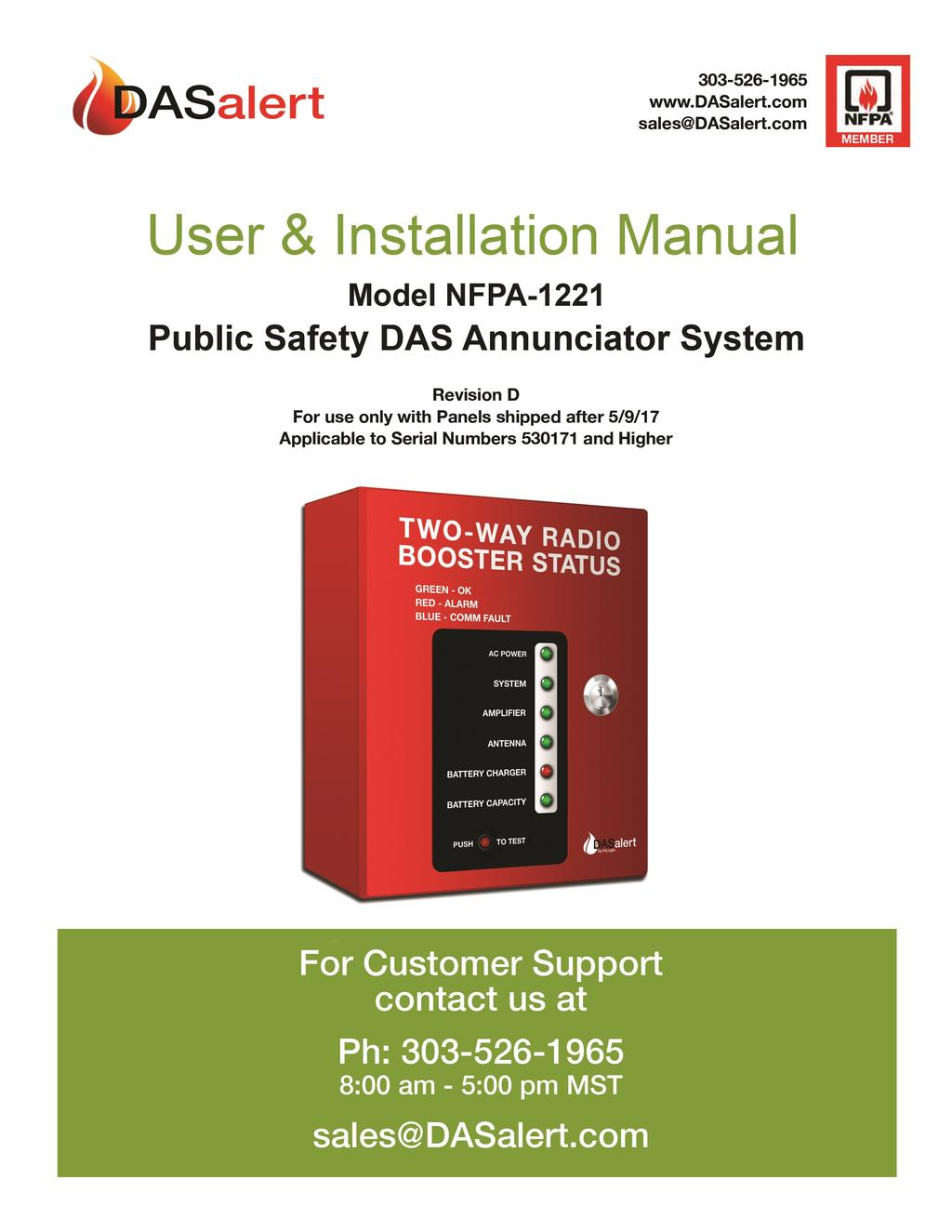 Public Safety DAS Annunciator Panel 120 VAC Models: 1221-A, 1221-B, 1221-C Revision D 91117