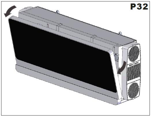 3.12 FRONT PANEL FUNCTION (P33) P33 When the unit starts working, the front panel and flap opens completely. 15 seconds later, the indoor fan and compressor work according to mode setting.