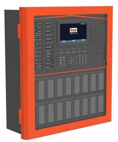 Intelligent addressable fire alarm control panel Input current consumption: Panel rating: Batteries: Networking and Interfaces Panel to panel communication: Number of panels: Interface port: System