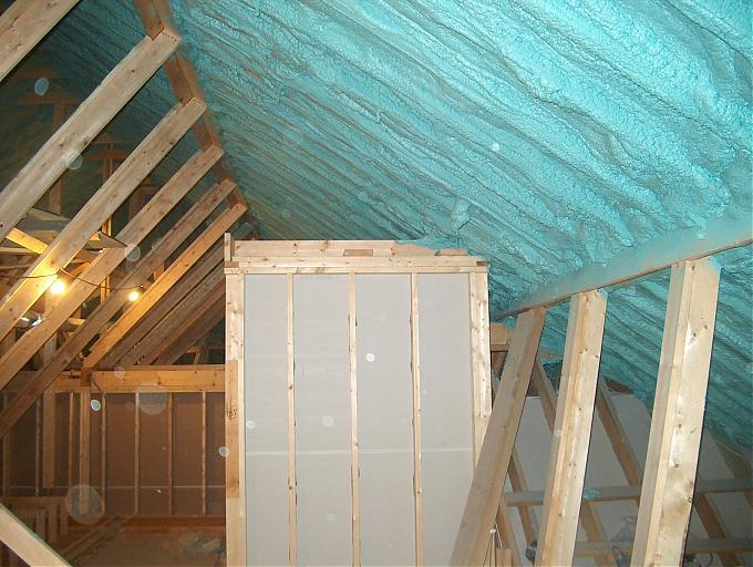 Icynene foam applied to the underside of the rafters. Insulating the underside of the attic rafters with icynene foam effectively converts the attic space to a conditioned space.