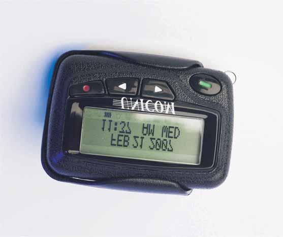 100 LL-PG PalmCOM Vibrating Pager Description A robust, standard 2 line alphanumeric pager that is simple and easy to operate.