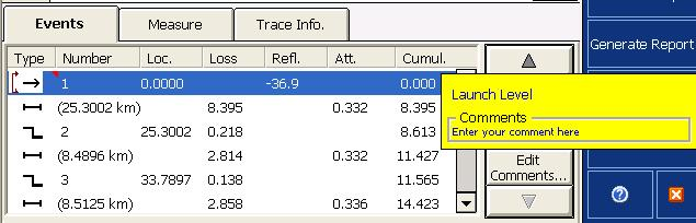 Analyzing Traces and Events Events Tab The events table lists all the events detected on the fiber.
