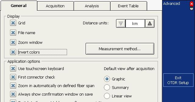Analyzing Traces and Events Setting Trace Display Parameters To set the trace display parameters: 1. From the button bar, press the OTDR Setup button, then select the General tab. 2.