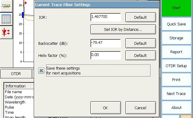 Analyzing Traces and Events Viewing and Modifying Current Trace Settings To modify the IOR, RBS coefficient, and helix factor parameters: 1. From the main window, go to the Trace Info. tab. 2.