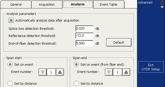 Analyzing Traces and Events Setting the Analysis Detection Thresholds To set the analysis detection thresholds: 1. From the button bar, press OTDR Setup. 2.